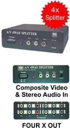 COMPOSITE VIDEO & AUDIO X4 SPLITTER