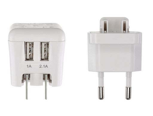 USB 2 PORT TRAVEL CHARGER 1A + 2.1A