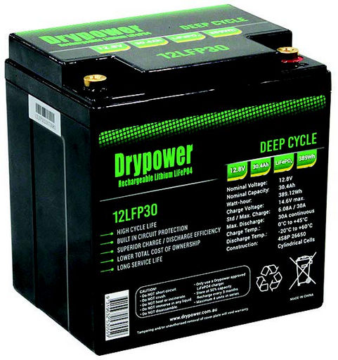 Drypower 12.8V 30.4Ah Lithium Iron Phosphate (LiFePO4) Rechargeable Lithium Battery