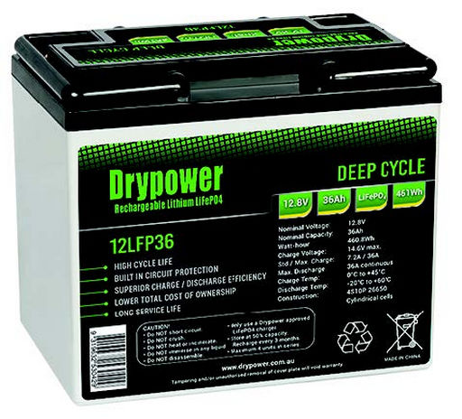 Drypower 12.8V 36Ah Lithium Iron Phosphate (LiFePO4) Rechargeable Lithium Battery - Up to 4 in Series Capable