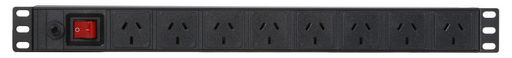 HORIZONTAL RACK POWER RAIL SURGE - 8 WAY GPO PDU - C14 INPUT