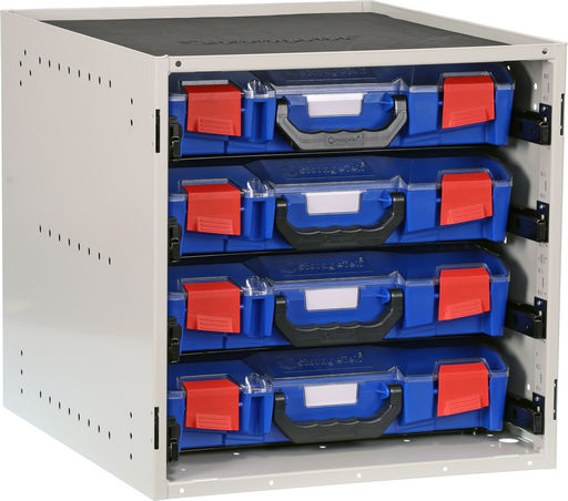 STORAGETEK CABINET WITH 4 SMALL ABS CASES
