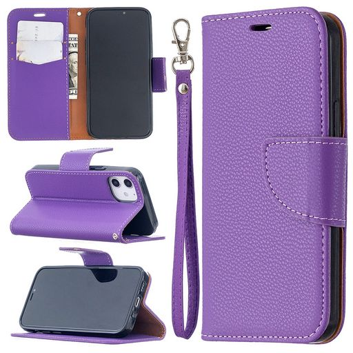 LITCHI HORIZONTAL LEATHER CASE WITH CARD HOLDER FOR APPLE IPHONE 12 MINI