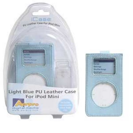 PU leather case with clear clip Blue - Suit iPod mini