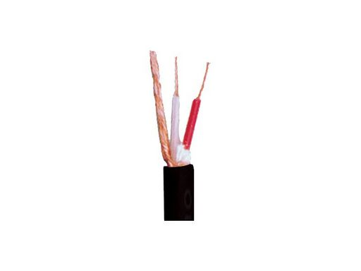 MICROPHONE CABLE - FLEXIBLE 100M ROLL 2 X 0.23MM² 6MM O.D COPPER SHIELD. BLACK
