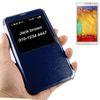 ALC6514-280 Linen Texture Leather Case with Caller ID Slot - Blue
