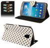 ALC6526-181 Pokka Dot Leather Wallet Case with Stand -White & Black