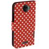 CAS5456-103 Dot Pattern Leather Flip Case With Holder - Red