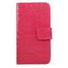 POU9020-414 Crocodile Skin Wallet Case With Horizontal Flip-Hot Pink